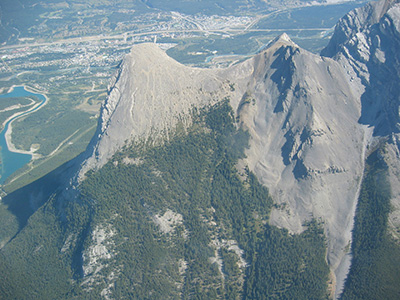 Aerial view of Ha Ling, Canmore, Alberta.