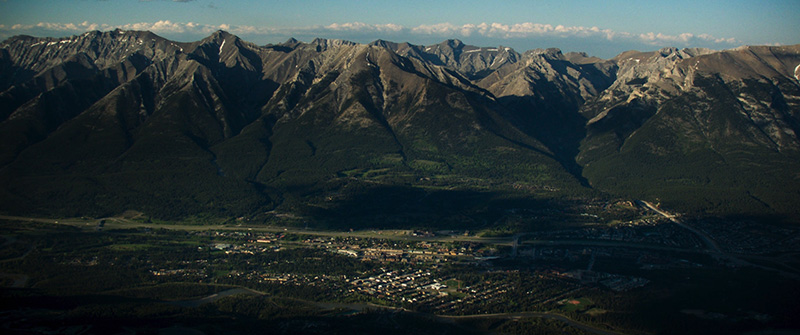 View of the town of Canmore from the summit of Ha Ling. Photo by Bryce Zimmerman.